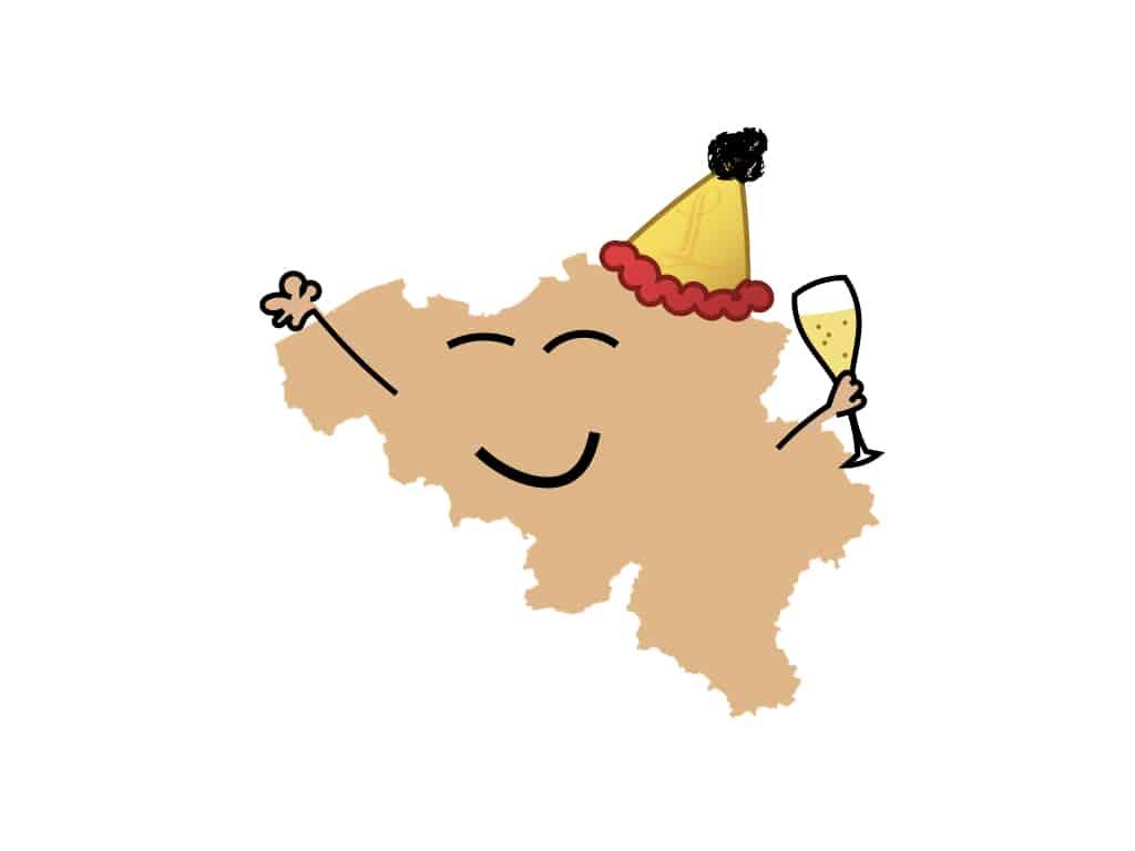 Belartisan content op social media post lachende kaart van België in cartoonstijl