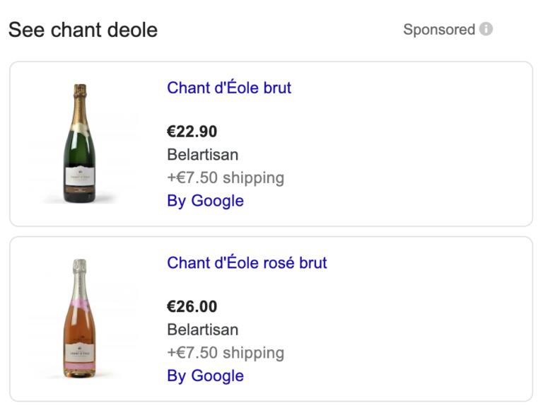 Screenshot van Google Shopping Ads