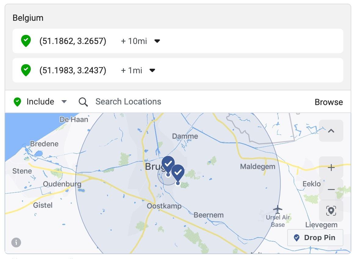 Facebook ads locatie instelling pin drop