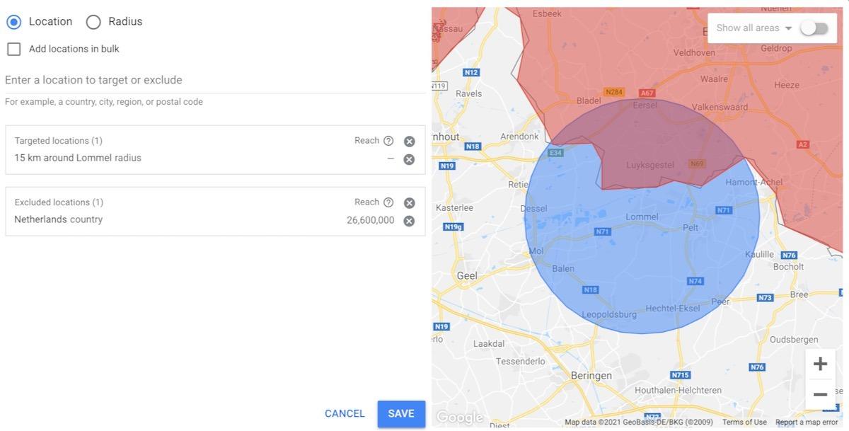 Manieren om locaties in te stellen in Google Ads