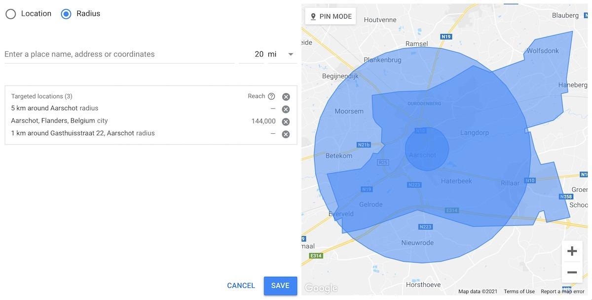 Google ads locatie instellingen hyperlokaal