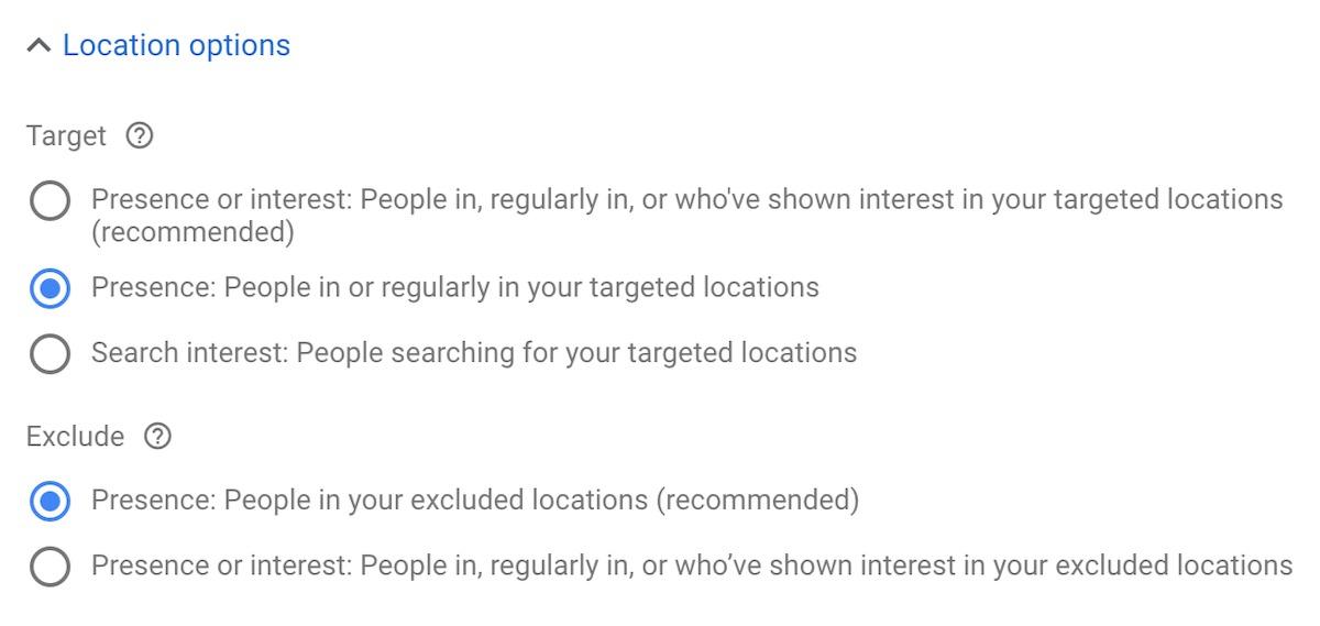 Locatie instellingen in Google ads