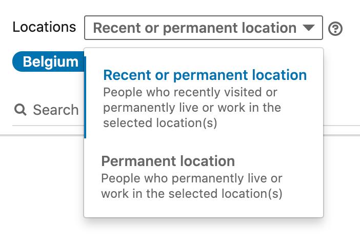 Locatie instellingen in LinkedIn ads