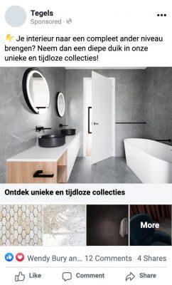Mockup van een Facebook Instant Experience advertentie